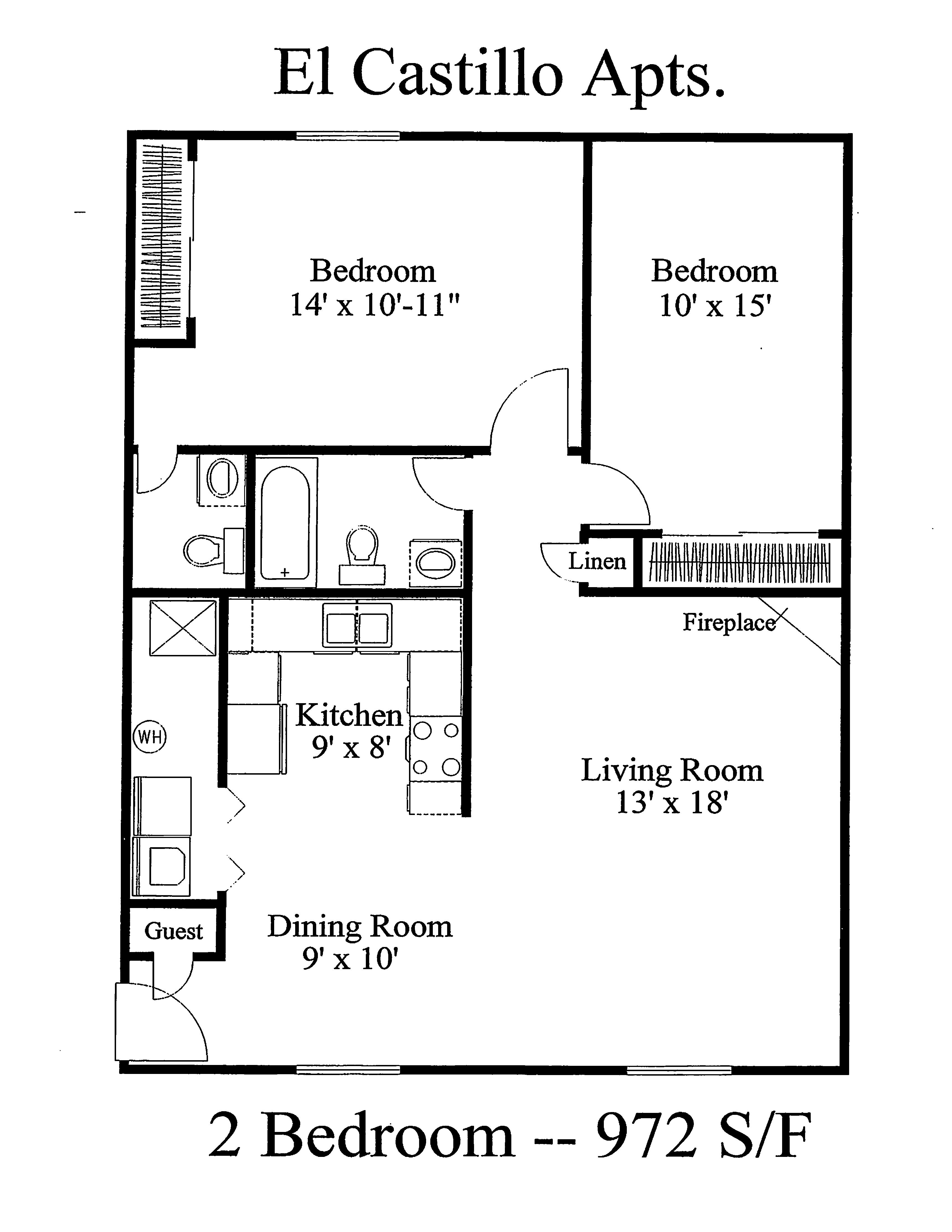 Floor plan - El Castillo Apartments
